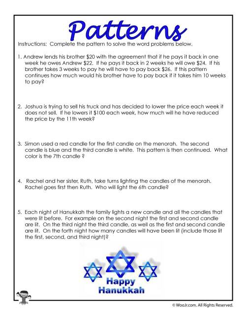 small resolution of 3rd Grade Math Patterns Word Problems   Woo! Jr. Kids Activities