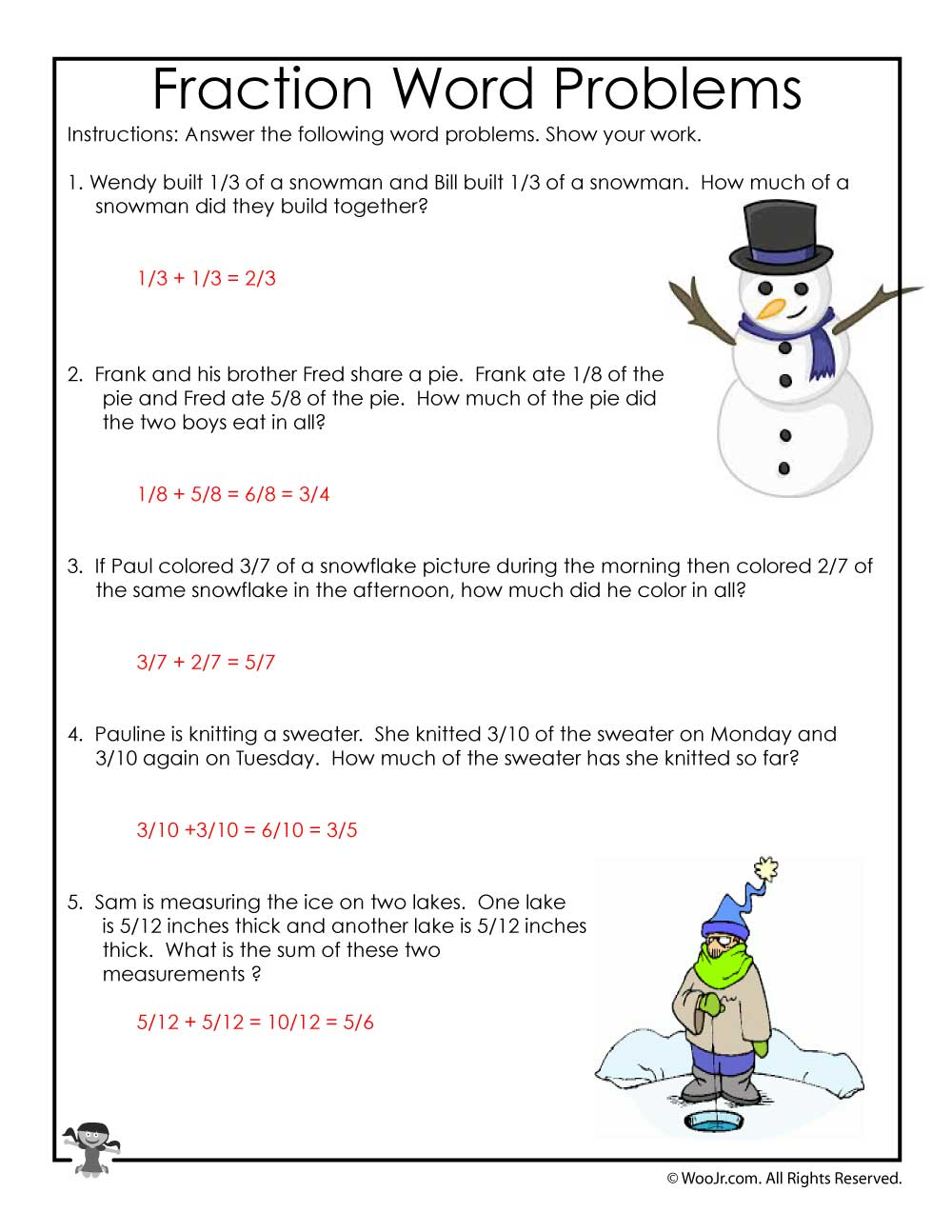 hight resolution of 3rd Grade Math Common Core Worksheets - ANSWER KEY   Woo! Jr. Kids  Activities