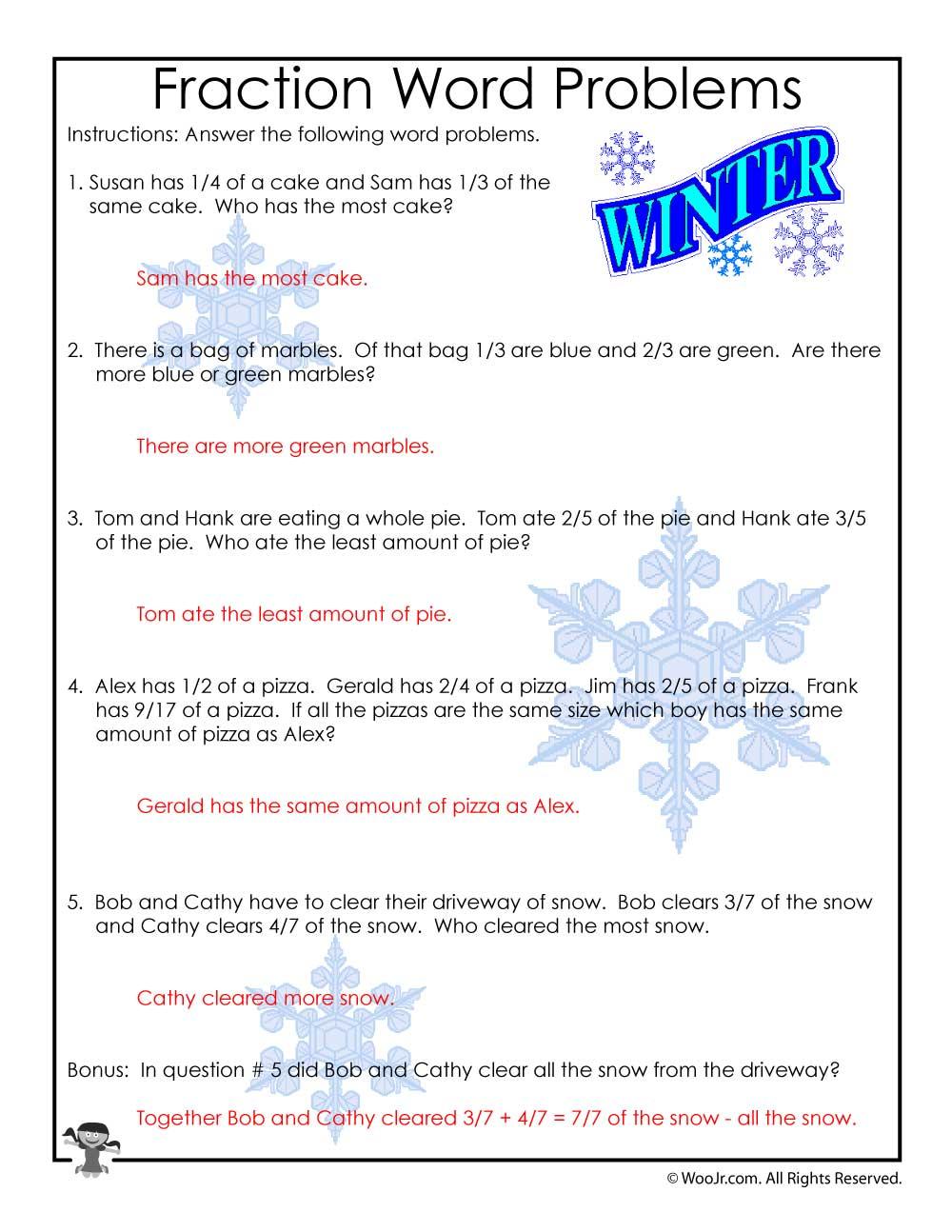 hight resolution of 3rd Grade Fractions Math Worksheet - ANSWER KEY   Woo! Jr. Kids Activities