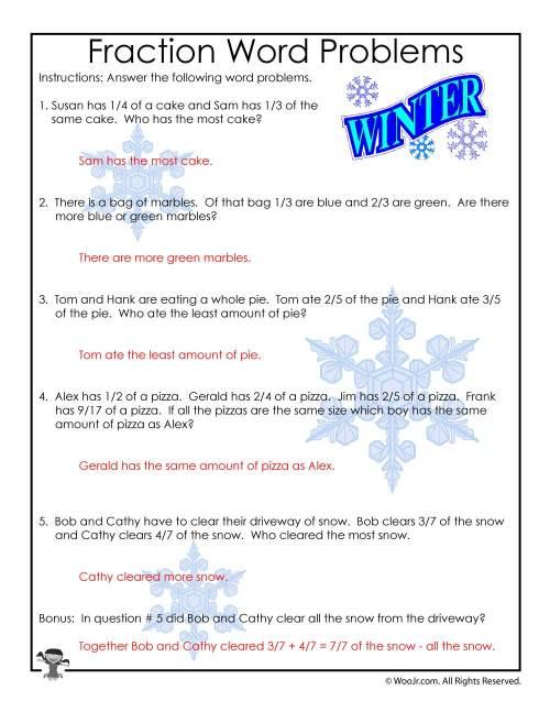 small resolution of 3rd Grade Fractions Math Worksheet - ANSWER KEY   Woo! Jr. Kids Activities