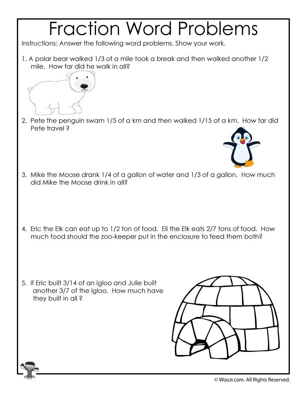 hight resolution of Printable Fractions Worksheets for Kids   Woo! Jr. Kids Activities