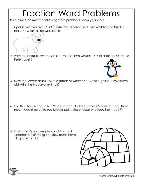 small resolution of Printable Fractions Worksheets for Kids   Woo! Jr. Kids Activities