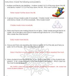 January Fractions Word Problems Worksheet - ANSWER KEY   Woo! Jr. Kids  Activities [ 1294 x 1000 Pixel ]
