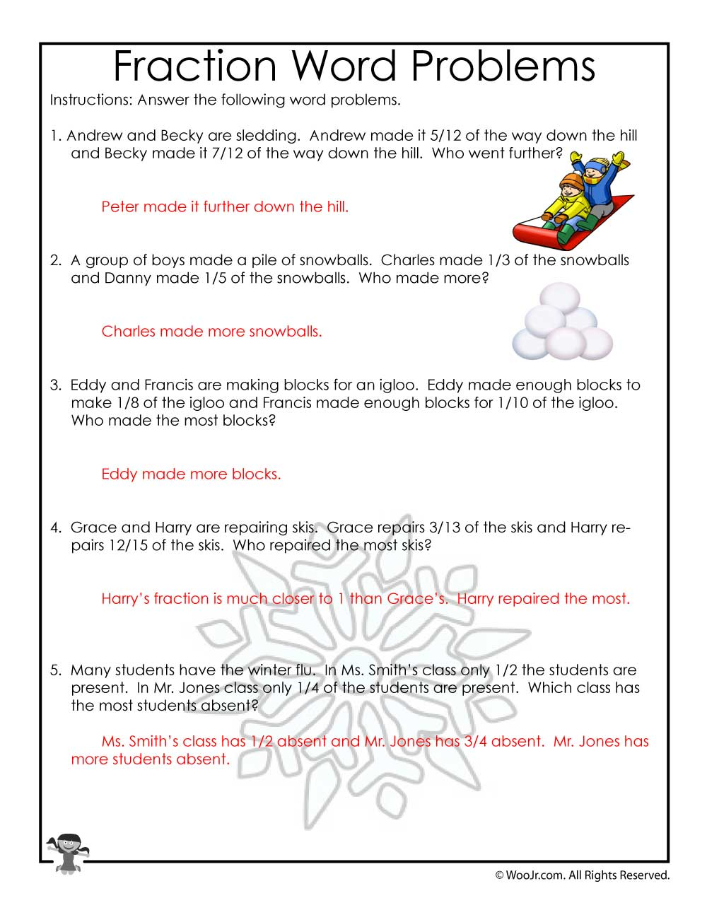 hight resolution of January Fractions Word Problems Worksheet - ANSWER KEY   Woo! Jr. Kids  Activities