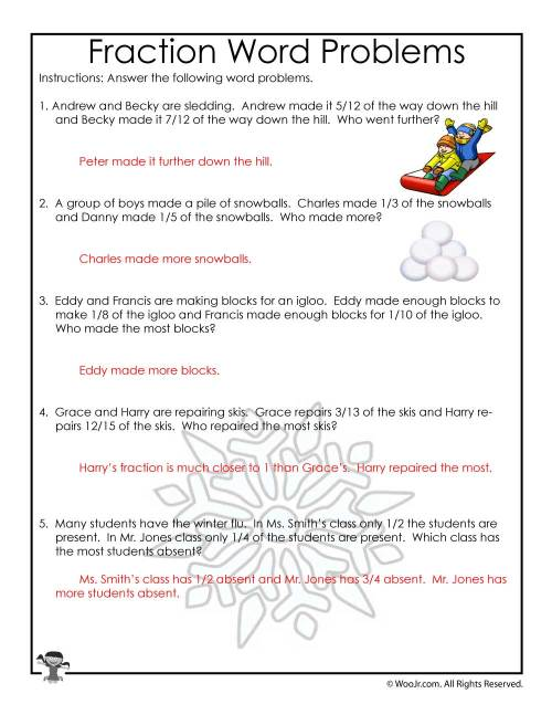 small resolution of January Fractions Word Problems Worksheet - ANSWER KEY   Woo! Jr. Kids  Activities