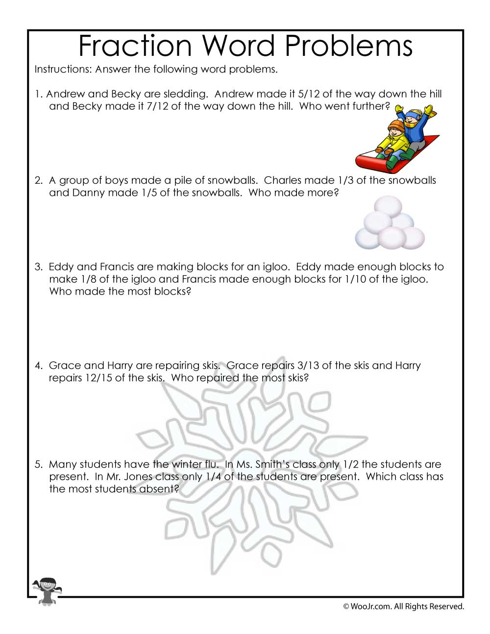 hight resolution of January Fractions Word Problems Worksheet   Woo! Jr. Kids Activities