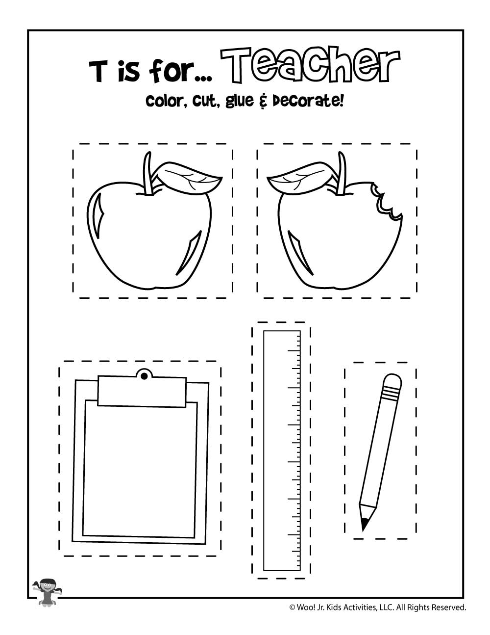 T Is For Teacher Coloring Craft Activity Woo Jr Kids Activities