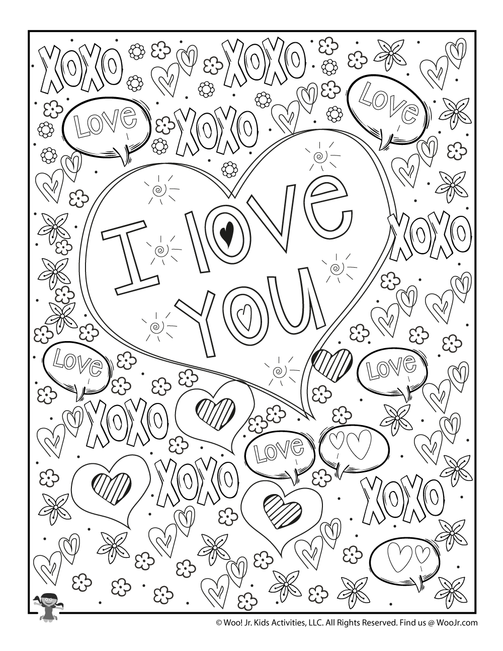 I Love You Hugs & Kisses Valentine's Day Coloring Page