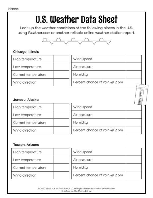 small resolution of US Weather Data Lesson Worksheet   Woo! Jr. Kids Activities