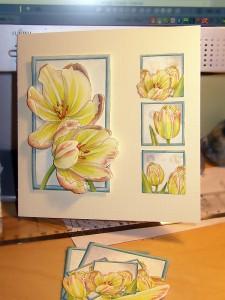 Yellow tulip decoupaged card