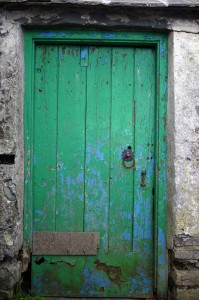 The door to the byre in which we were shearing