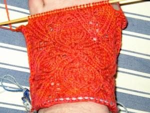 Yes, I am knitting a Monster sock