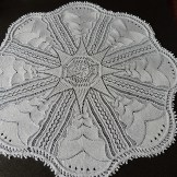 Valborg Doily, starched and mounted