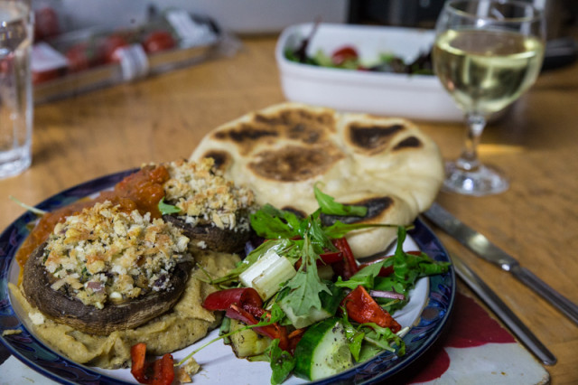 Served today om Wild Mushroom Polenta with a salad, a spicy tomato sauce and freshly-made flatbread