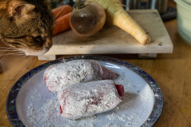 Rescue meat from cat, remove cat and banish from kitchen