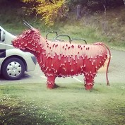 """Hairy Coo"" metal sculpture at Ralia"