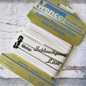 Gummiband Schlauchlitze Wenco extra weich 8mm 3m weiß - Woolnerd