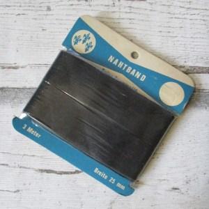 Nahtband Baumwolle schwarz 25mm 3m - Woolnerd