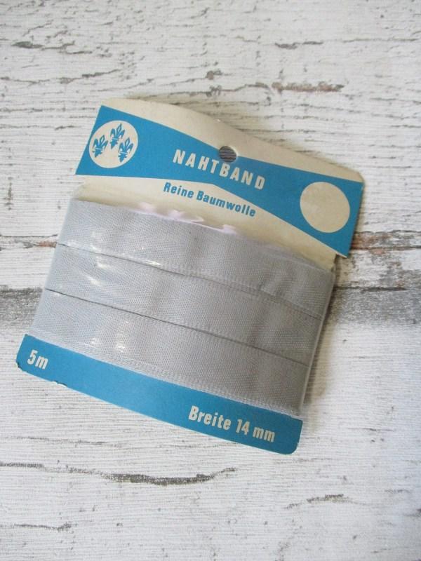 Nahtband hellgrau Baumwolle 14mm - Woolnerd