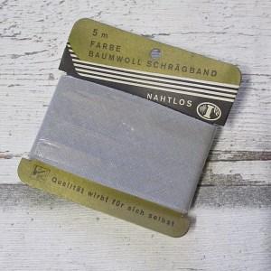 Schrägband binderband hellgrau Baumwolle 24mm 5m ungefalzt - Woolnerd