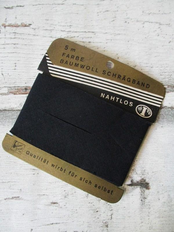 Schrägband binderband schwarz Baumwolle ungefalzt 24mm - Woolnerd