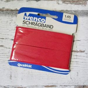 Schrägband rot Wenco Baumwolle nicht vorgefalzt 24mm 5m - Woolnerd