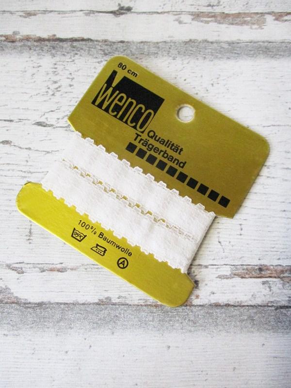 Trägerband Wenco weiß Spitze Baumwolle 80cm - Woolnerd