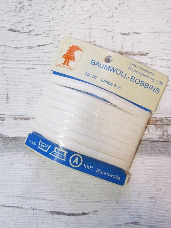 Baumwoll-Bobbins Baumwollbänder Baumwolle weiß 5mm 8m NÄH-FIX - Woolnerd