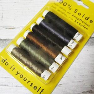 Kombipackung Seide schwarz braun grün blau beigegrau dunkelbraun - Woolnerd