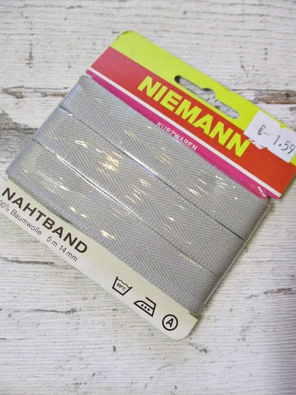 Nahtband NIEMANN hellgrau Baumwolle 14mm 5m - Woolnerd