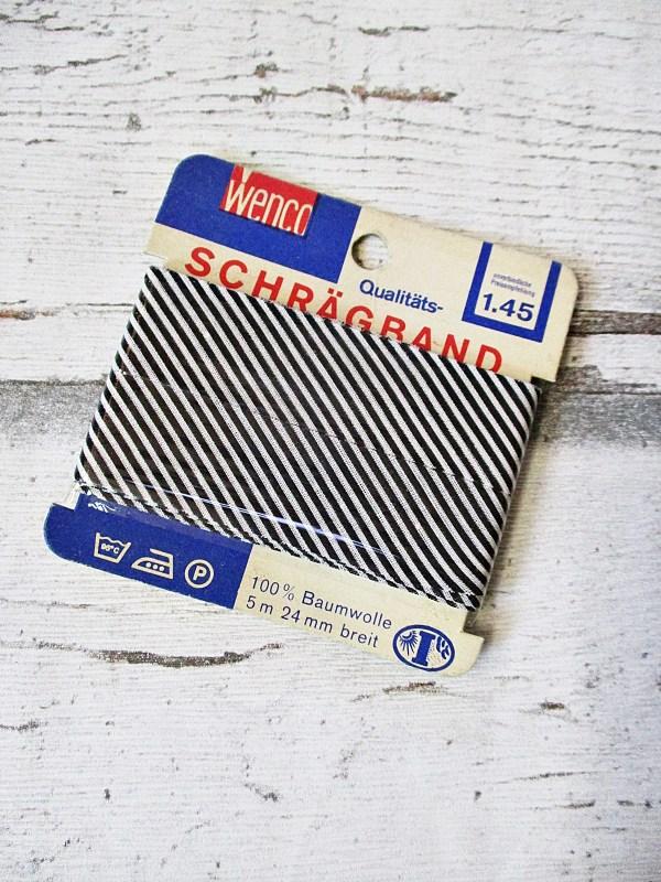 Schrägband Wenco Baumwolle 24mm ungefalzt schwarz-weiß gestreift - Woolnerd