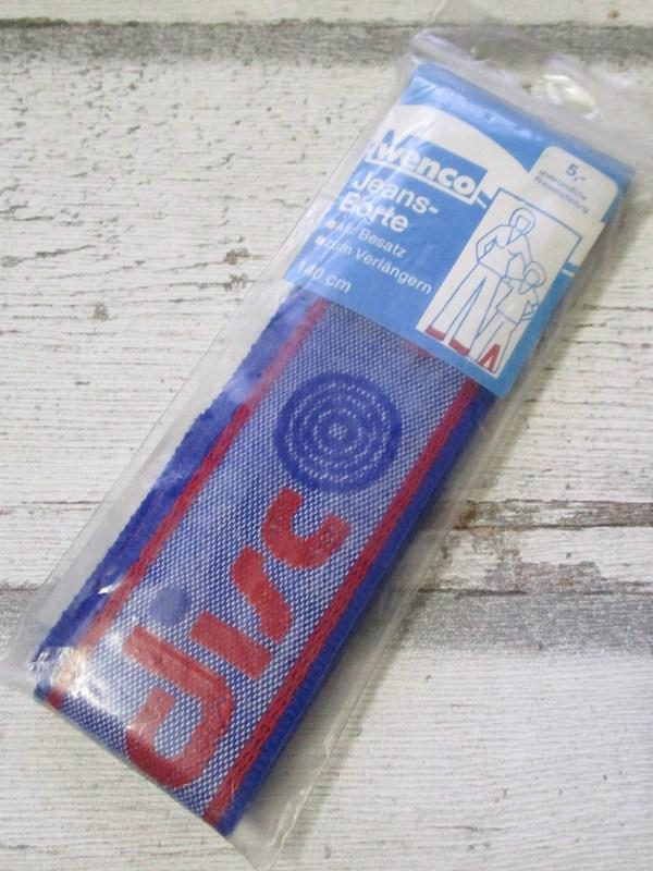 Jeansborte Polyacryl Vintage 70er blau rot DISC - Woolnerd