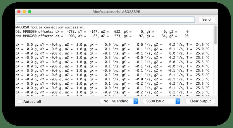 Arduino Uno MPU6050 Serial Monitor