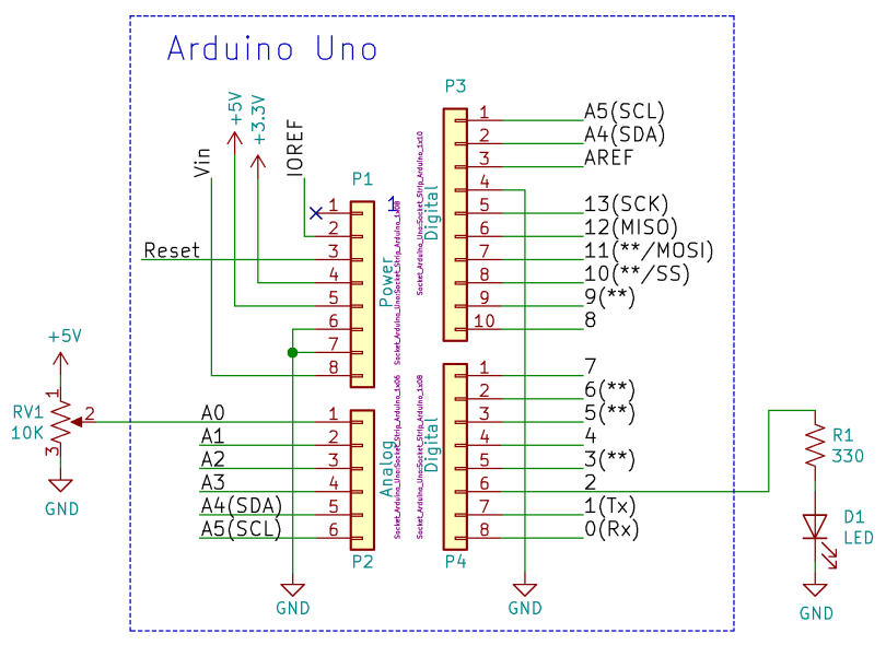 Arduino LED And Potentiometer Schematic
