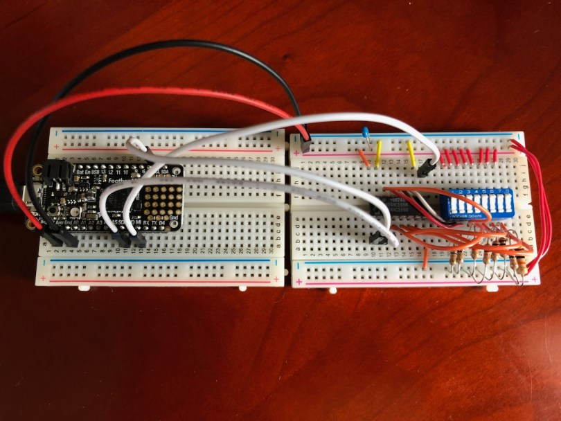 Completed 74HC165 Digital Inputs Circuit Connected To A Feather M4 Express Board