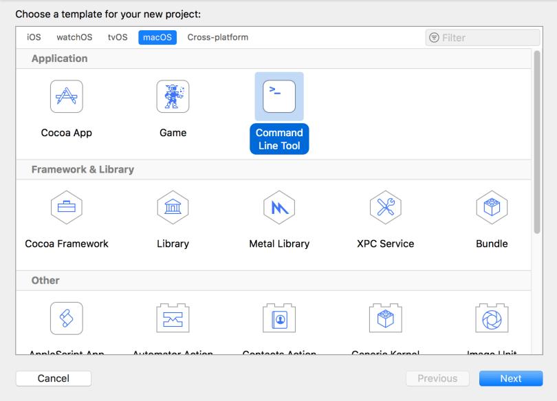 Xcode Choose Command Line Tool Template Window