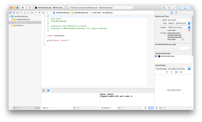 Xcode HelloWorldXcode Project Editor Window