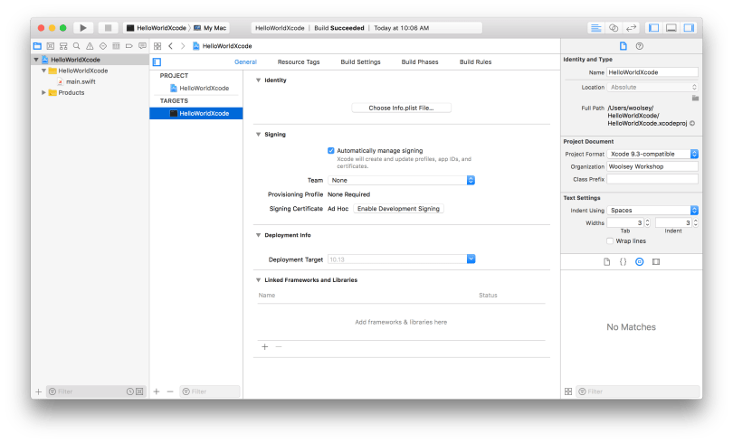Xcode HelloWorldXcode Project Target Window