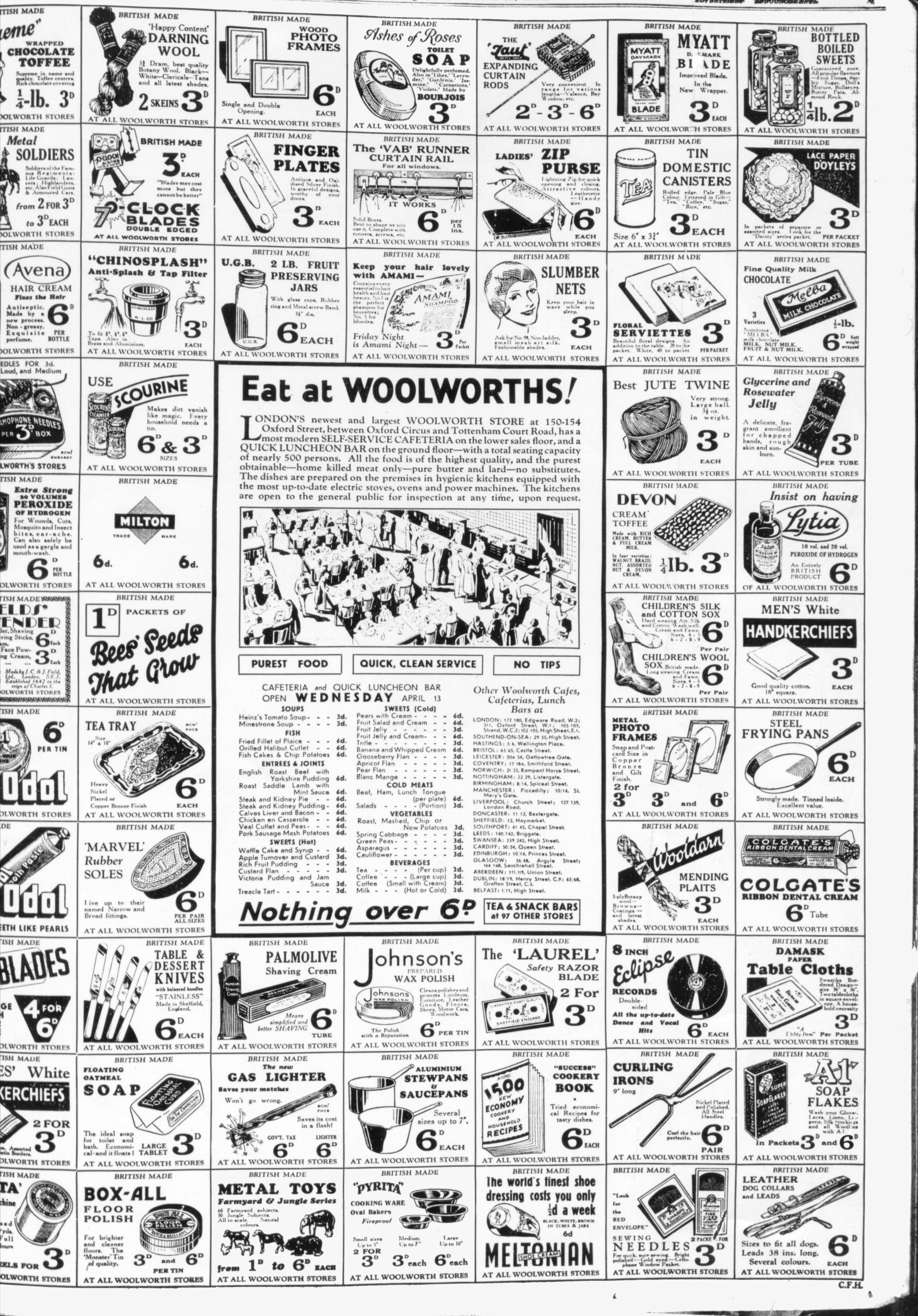 Ecletic Thirties Products From F W Woolworth
