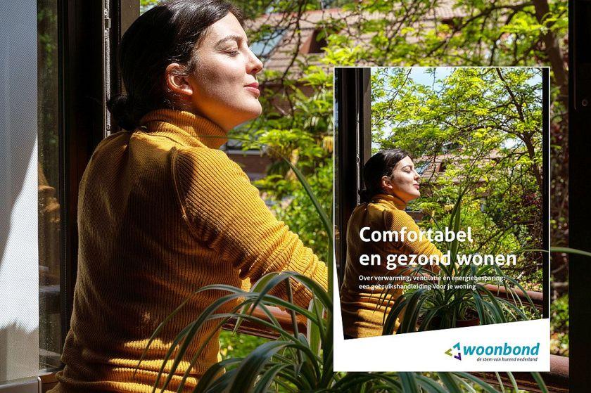 Omslag boek: vrouw geniet van de zon bij het open raam