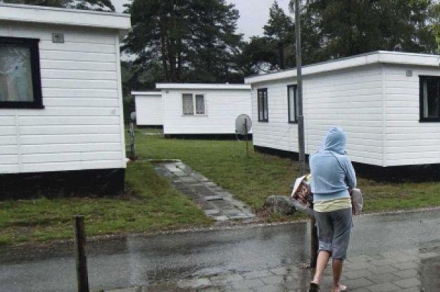 Caravanpark in de regen