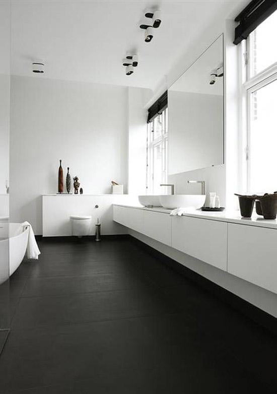 Zwart witte badkamer  Wooninspiratie
