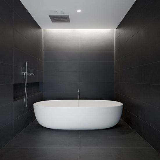 Donkere badkamer  Wooninspiratie