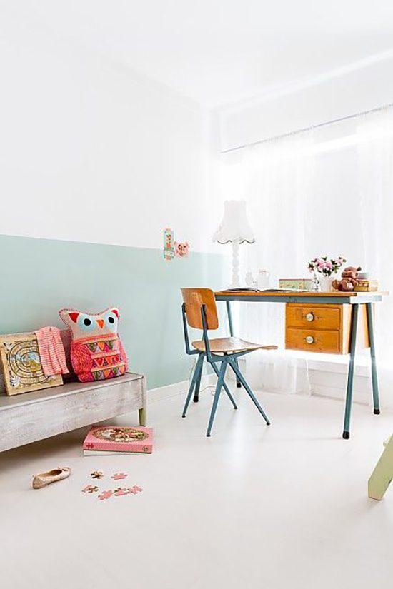 Half geschilderde muur in de kinderkamer  Wooninspiratie