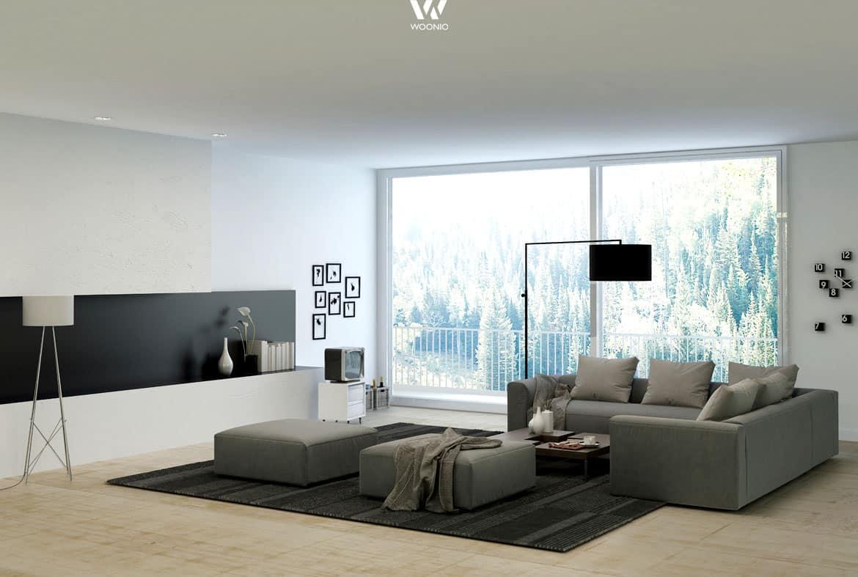 Grau und Schwarz wirkt immer sehr edel im Wohnzimmer  Wohnidee by WOONIO