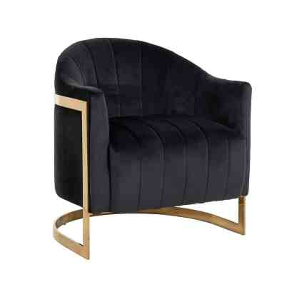 Fauteuil Melody Antraciet velvet / brushed gold (Quartz Antraciet 801)