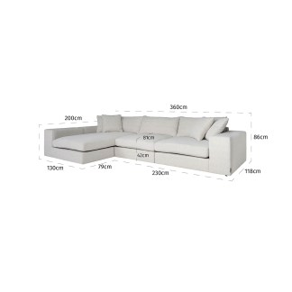 Bank Juniper 3-zits + Lounge links/rechts White (Copenhagen 900 Bouclé White)