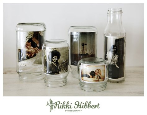 glass jars photo frames