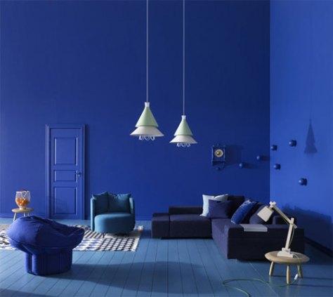 een blauw interieur van Sara Sjögren