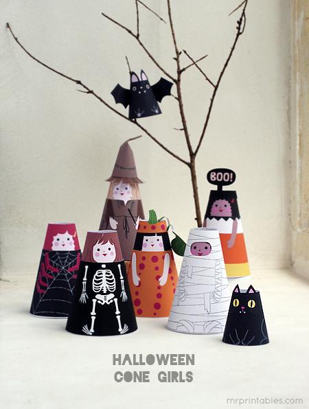 printable papieren halloween poppetjes